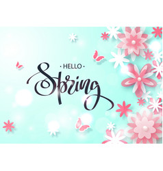 hello spring beautiful background with paper vector image vector image