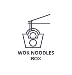 wok noodles box line icon outline sign linear vector image