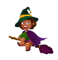 Cute latina girl witch on the broom happy vector
