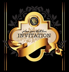 Golden royal lable on black background vector image vector image