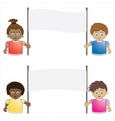 kids holding banners vector image vector image
