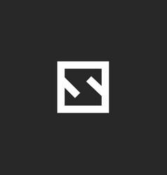 letter s logo monogram minimal style square frame vector image