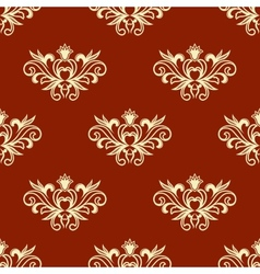 Yellow floral seamless pattern with red background vector image vector image