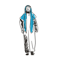 arabian man in national dress hand drawn icon vector image vector image