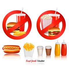 Ast food danger labels vector