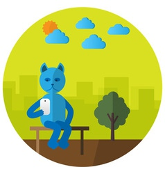 Cat with mobile phone vector