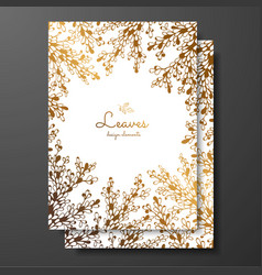 gold floral card template with abstract plants vector image