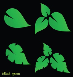 leaf and think green on black background vector image