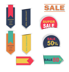 sale labels collection sticker with shadow vector image