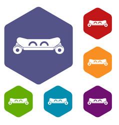 skateboard deck icons set hexagon vector image