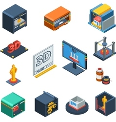 3D Printing Isometric Icons Collection vector