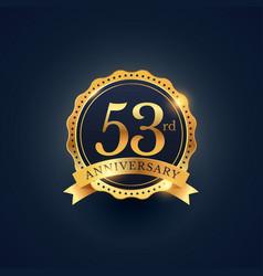 53rd anniversary celebration badge label vector