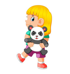 a girl happy playing with the panda doll vector image