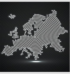 abstract europe map of glowing radial dots vector image