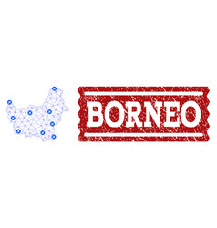 Air ticket collage of polygonal mesh map of borneo vector