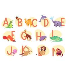 alphabet with exotic animals children abc vector image
