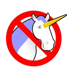 Ban unicorn Stop magical animal Prohibited sexual vector image