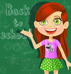 Banner Back to school with cute little girl vector image