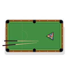 billiard table pool stick and billiard balls for vector image