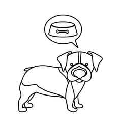 black contour with beagle dog thinkin food vector image
