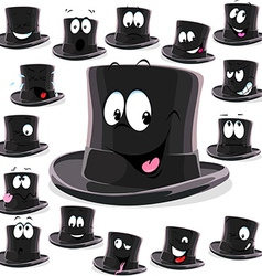 Black top hat cartoon isolated on white background vector image
