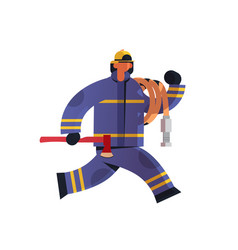 brave fireman running with axe and hose vector image