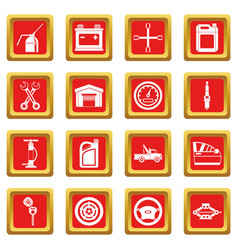 Car maintenance and repair icons set red vector