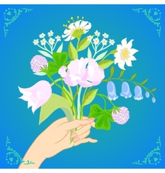 Card with bouquet spring and summer flowers vector