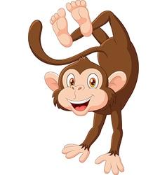 Cartoon happy monkey dancing vector image
