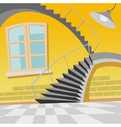 cartoon interior staircase curve in the room vector image
