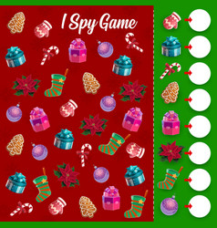 children i spy game with christmas toys and gifts vector image