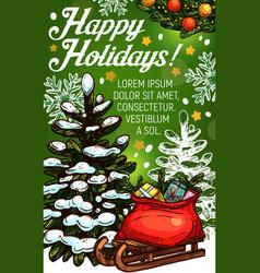 christmas tree and santa gift bag greeting card vector image