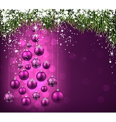 Christmas tree with purple christmas balls vector image