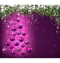 Christmas tree with purple christmas balls vector