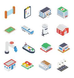City building accessories isometric vector