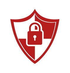 Color silhouette of shield with padlock vector