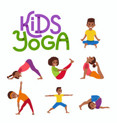 Concept happy african kids exercise poses vector