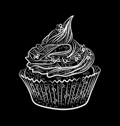 cupcakes isolated on black background vector image