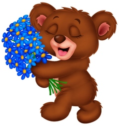 Cute little bear holding a bouquet vector