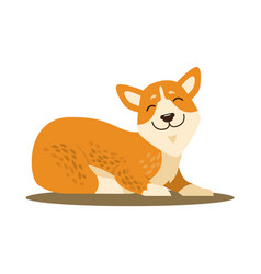 Cute smiling corgi icon vector