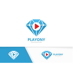 diamond and play button logo combination vector image