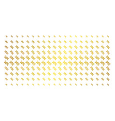 dna spiral golden halftone array vector image