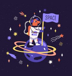 Dog astronaut in space suit on planet with flag vector