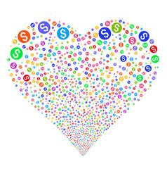 dollar coin fireworks heart vector image