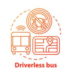 Driverless bus concept icon autopilot for city vector