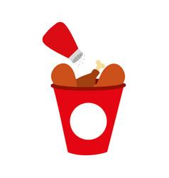 fast food bucket roasted chicken menu vector image