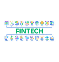 Fintech innovation minimal infographic banner vector
