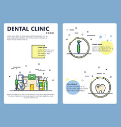 Flat line art dental clinic poster template vector