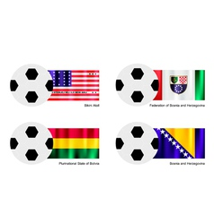 Football with Bikini Atoll Bolivia Bosnia Flag vector