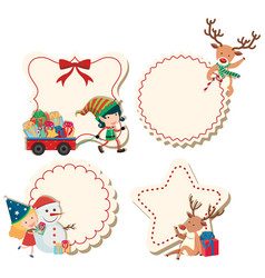Four labels with christmas theme vector